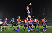 Charlie Ewels of Bath United wins the ball at a lineout. Remembrance Rugby match, between Bath United and UK Armed Forces on November 9, 2015 at the Recreation Ground in Bath, England. Photo by: Patrick Khachfe / Onside Images