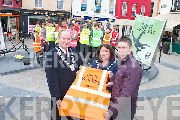 The launch of the ''Bin It Your Way'' campaign in the Square, Tralee on Tuesday. The campaign is a joint initiative between the Gum Litter Taskforce and Kerry County Council which hopes to help prevent chewing gum littering by raising awareness and encouraging people to dispose of their gum responsibly. Helping launch the campaign were: Cllr. Jim Finucane, Grace O'Donnell (Mayor Of Tralee) and Marc O'Se along with Marc's class from CBS, the Green, Tralee.