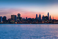 Philadelphia, PA, Skyline, Sunset, Shiloette, River Reflections, Panorama Phila, Philly, PA