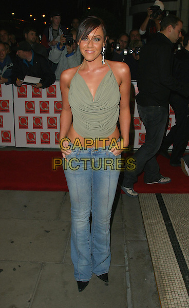 MICHELLE HEATON - LIBERTY X.The 2003 Q Awards, Park Lane Hotel, London, UK.2nd October 2003 .full length, full-length, denim jeans, green halter neck singlet.www.capitalpictures.com.sales@capitalpictures.com.Supplied By Capital PIctures