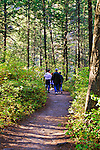 People walk in the woods in Glacier National Park.