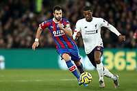 23rd November 2019; Selhurst Park, London, England; English Premier League Football, Crystal Palace versus Liverpool; Georginio Wijnaldum of Liverpool takes on Luka Milivojevic of Crystal Palace - Strictly Editorial Use Only. No use with unauthorized audio, video, data, fixture lists, club/league logos or 'live' services. Online in-match use limited to 120 images, no video emulation. No use in betting, games or single club/league/player publications