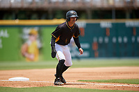 Bradenton Marauders left fielder Tyler Gaffney (6) leads off third base during the first game of a doubleheader against the Jupiter Hammerheads on May 27, 2018 at LECOM Park in Bradenton, Florida.  Bradenton defeated Jupiter 13-5.  (Mike Janes/Four Seam Images)