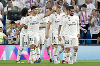 Real Madrid's players celebrate goal during La Liga match. August 19,2018.  *** Local Caption *** &copy; pixathlon<br /> Contact: +49-40-22 63 02 60 , info@pixathlon.de