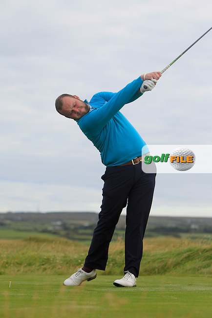 Cian Geraghty (Laytown &amp; Bettystown) on the 2nd tee during Matchplay Round 1 of the South of Ireland Amateur Open Championship at LaHinch Golf Club on Friday 24th July 2015.<br /> Picture:  Golffile | Thos Caffrey
