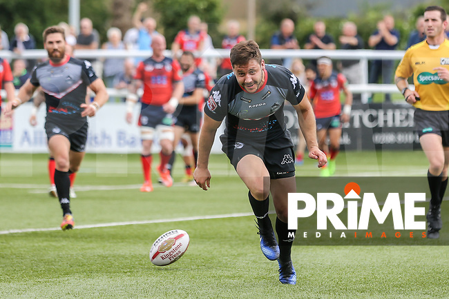 William Barthau of London Broncos scores a try during his 50th appearance for London Broncos during the Kingstone Press Championship match between London Broncos and Featherstone Rovers at Castle Bar , West Ealing , England  on 25 June 2017. Photo by David Horn.