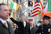 www.acepixs.com<br /> March 17, 2017  New York City<br /> <br /> Mayor Bill de Blasio at the St Patrick's Day Parade on March 17, 2017 in New York City.<br /> <br /> Credit: Kristin Callahan/ACE Pictures<br /> <br /> <br /> Tel: 646 769 0430<br /> Email: info@acepixs.com