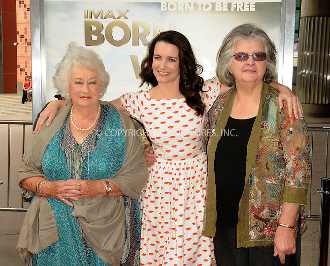 WWW.ACEPIXS.COM . . . . . ....April 3 2011, Los Angeles....Dame Daphne M. Sheldrick, actress Kristin Davis and Dr. Birute Mary Galdikas arriving at the premiere of ' 'Born To Be Wild 3-D' at the California Science Center on April 3, 2011 in Los Angeles, CA....Please byline: PETER WEST - ACEPIXS.COM....Ace Pictures, Inc:  ..(212) 243-8787 or (646) 679 0430..e-mail: picturedesk@acepixs.com..web: http://www.acepixs.com
