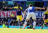 Pictured L-R: Roland Lamah of Swansea prepares to take a shot and Phil Jakielka of Everton. Sunday 16 February 2014<br />
