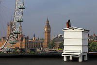 The hive at the Royal Festival Hall and a smoker with the parliament in the background.