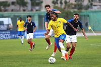 Douglas Luiz of Brazil bursts through the France defence during France Under-18 vs Brazil Under-20, Tournoi Maurice Revello Football at Stade d'Honneur Marcel Roustan on 5th June 2019