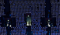 27 JUL 2012 - LONDON, GBR -  Pixel panels between spectators seats helped produce the light show seen during the Opening Ceremony of the London 2012 Olympic Games at the  Olympic Stadium in the Olympic Park, Stratford, London, Great Britain .(PHOTO (C) 2012 NIGEL FARROW)