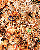 TURKEY, Istanbul, full frame of antique golden jewelry at the Grand Bazaar.