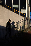 Alloa Athletic 0 Peterhead 1,14/01/2017. Recreation Park, Scottish League One. A home supporter making his way into the main stand at Recreation Park before Alloa Athletic played Peterhead in a Scottish League One fixture. The club was formed in 1878 as Clackmannan County, changing the name to Alloa Athletic in 1883. The visitors won the match by one goal to nil, watched by a crowd of 504. Photo by Colin McPherson.