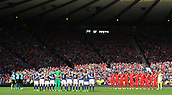 June 10th 2017, Hampden park, Glasgow, Scotland; World Cup 2018 Qualifying football, Scotland versus England; Scotland and England line up for a minutes silence