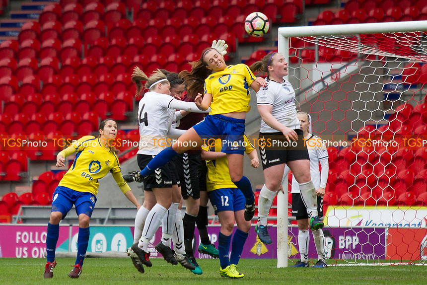 Sam Tierney of Belles is in the thick of it during Doncaster Rovers Belles vs Durham Women, FA Women's Super League FA WSL2 Football at the Keepmoat Stadium on 16th April 2017