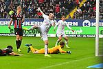 06.10.2019, Commerzbankarena, Frankfurt, GER, 1. FBL, Eintracht Frankfurt vs. SV Werder Bremen, <br /> <br /> DFL REGULATIONS PROHIBIT ANY USE OF PHOTOGRAPHS AS IMAGE SEQUENCES AND/OR QUASI-VIDEO.<br /> <br /> im Bild: Davy Klaassen (SV Werder Bremen #30) trifft das Tor zum 0:1 gegen Frederik Rönnow / Roennow (Eintracht Frankfurt #32)<br /> <br /> Foto © nordphoto / Fabisch