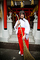 "TOKYO, JAPAN - JUNE 27 : A shrine maiden posed for a portrait in front of the entrance of Akihabara shrine in Akihabara, Tokyo, Japan on June 27, 2016. The newly opened Akihabara Shrine offers a memorial services for ""deceased"" anime figures. (Photo by Richard Atrero de Guzman/AFLO)"
