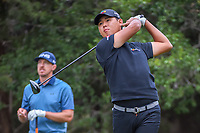 Si Woo Kim (KOR) watches his tee shot on 14 during Round 3 of the Valero Texas Open, AT&amp;T Oaks Course, TPC San Antonio, San Antonio, Texas, USA. 4/21/2018.<br /> Picture: Golffile | Ken Murray<br /> <br /> <br /> All photo usage must carry mandatory copyright credit (&copy; Golffile | Ken Murray)