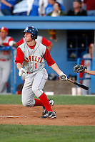 August 5, 2009:  Shortstop Robbie Shields (1) of the Brooklyn Cyclones follows through on a swing during a game at Dwyer Stadium in Batavia, NY.  Brooklyn is the Short-Season Class-A affiliate of the New York Mets.  Photo By Mike Janes/Four Seam Images