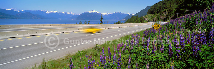 "Scenic ""Sea to Sky"" Highway (Hwy 99) from Vancouver to Whistler, BC, British Columbia, Canada - Howe Sound and Coast Mountains in Distance - Panoramic View"