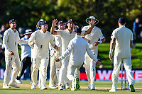 Alastair Cook of England celebrates Jack Leach of England catch of Colin De Grandhomme of the Black Caps during the final day of the Second International Cricket Test match, New Zealand V England, Hagley Oval, Christchurch, New Zealand, 3rd April 2018.Copyright photo: John Davidson / www.photosport.nz