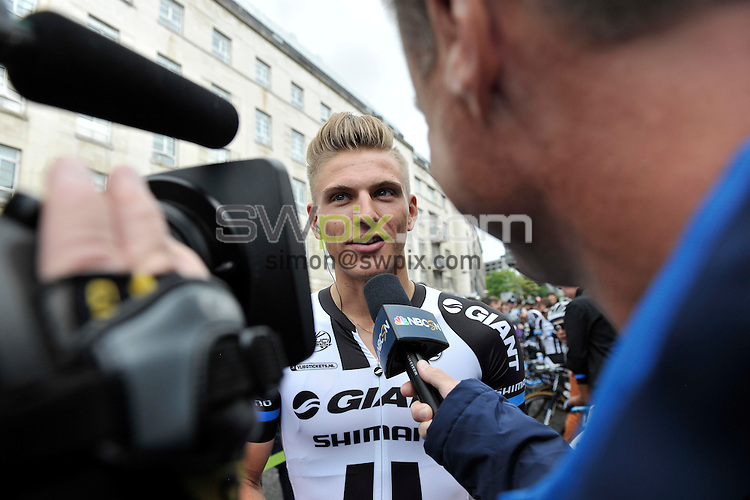 Picture by Simon Wilkinson/SWpix.com - 05/07/2014 - Cycling - Tour de France 2014 Grand Depart - Stage 1, Leeds to Harrogate - Yorkshire, England - Giant Shimano's Marcel Kittel talks to the media before the start in Leeds.