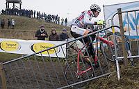 Gianni Vermeersch (BEL/Steyaerts-Verona) going steep during the Elite Men's course recon<br /> <br /> CX Superprestige Noordzeecross <br /> Middelkerke / Belgium 2017