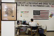 August 1, 2008. Raleigh, NC.. As the presidential general election race heats up, the Obama campaig has invested large amounts of resources in an attempt to challenge a Republican hold on recent presidential elections in North Carolina.. A poster of FDR hangs behind the work area of a campaign staffer a the Raleigh office.