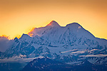 Sunrise on Mt. Hayes, Alaska Range from Denali Highway, Southcentral Alaska, Summer.
