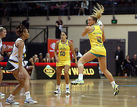 25.10.2012 Australia's Chelsea Pitman in action during the England v Australia netball test match as part of the Quad Series played at the TSB Arena Wellington. Mandatory Photo Credit ©Michael Bradley.