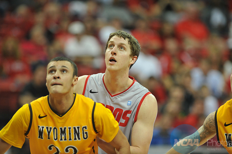 13 MAR 2013: The University of Wyoming takes on The University of New Mexico during the Mountain West Conference Men's Basketball Tournament held at the Thomas & Mack Center in Las Vegas, NV. Justin Tafoya/NCAA Photos