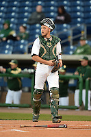 USF Bulls catcher Levi Borders (12) during a game against the Louisville Cardinals on February 14, 2015 at Bright House Field in Clearwater, Florida.  Louisville defeated USF 7-3.  (Mike Janes/Four Seam Images)