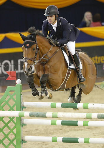 19.10.2013 Hannover Germany. <br /> Rodrigo Pessoa BRA and Cadjanine in action during The 2013 German Classics International Horse Show