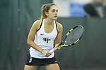 Eliza Omirou of the Wake Forest Demon Deacons during the match against the Liberty Flames at the Wake Forest Indoor Tennis Center on March 11, 2017 in Winston-Salem, North Carolina. The Demon Deacons defeated the Flames 7-0.  (Brian Westerholt/Sports On Film)