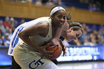 DURHAM, NC - FEBRUARY 01: Georgia Tech's Kierra Fletcher and Duke's Rebecca Greenwell (23) fight for the ball. The Duke University Blue Devils hosted the Georgia Tech University Yellow Jackets on February 1, 2018 at Cameron Indoor Stadium in Durham, NC in a Division I women's college basketball game. Duke won the game 77-59.