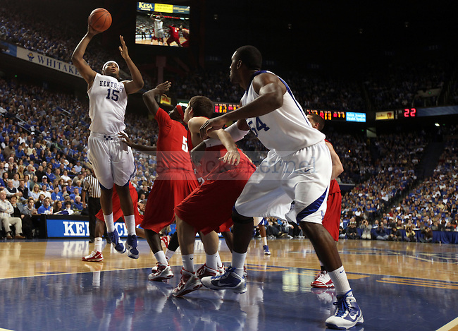Freshman forward DeMarcus Cousins takes a shot in the second half of UK's win over Hartford at Rupp Arena on Monday, Dec. 29, 2009. Photo by Britney McIntosh | Staff