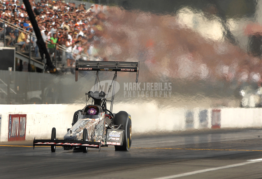 Nov 4, 2007; Pomona, CA, USA; NHRA top fuel dragster driver Hillary Will during the Auto Club Finals at Auto Club Raceway at Pomona. Mandatory Credit: Mark J. Rebilas-US PRESSWIRE