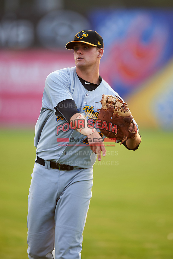 West Virginia Black Bears first baseman Albert Baur (28) during warmups before a game against the Batavia Muckdogs on August 31, 2015 at Dwyer Stadium in Batavia, New York.  Batavia defeated West Virginia 5-4.  (Mike Janes/Four Seam Images)