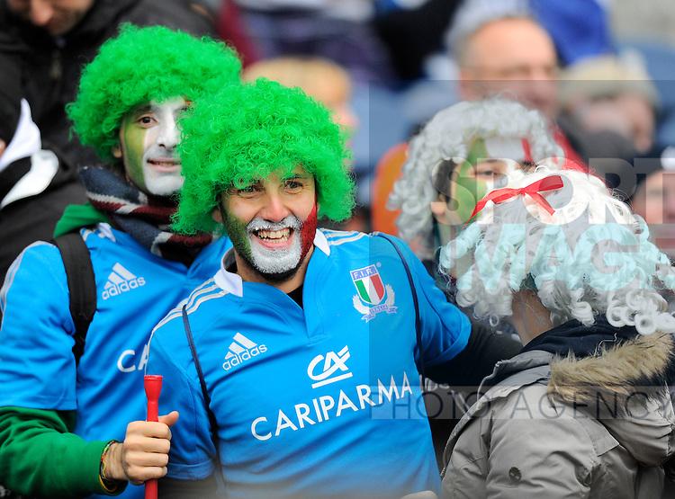 Italian fans enjoying the day - RBS 6 Nations - Scotland vs Italy -  Murrayfield Stadium - Edinburgh - 09/02/13 - Picture Simon Bellis/Sportimage