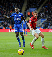 Leicester City's Nampalys Mendy battles with Manchester United's Ander Herrera<br /> <br /> Photographer Hannah Fountain/CameraSport<br /> <br /> The Premier League - Leicester City v Manchester United - Sunday 3rd February 2019 - King Power Stadium - Leicester<br /> <br /> World Copyright © 2019 CameraSport. All rights reserved. 43 Linden Ave. Countesthorpe. Leicester. England. LE8 5PG - Tel: +44 (0) 116 277 4147 - admin@camerasport.com - www.camerasport.com
