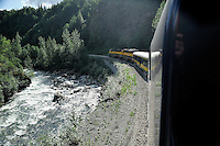 The Indian River winds along the tracks north of Talkeetna. The Alaska Railroad's Denali Star train runs between Anchorage and Fairbanks, with Denali one of the stops along the way.