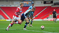 Blackpool's Will Aimson is fouled by Doncaster Rovers' Will Longbottom earning his side their second penalty of the game<br /> <br /> Photographer Chris Vaughan/CameraSport<br /> <br /> The EFL Sky Bet League Two - Doncaster Rovers v Blackpool - Keepmoat Stadium - Doncaster<br /> <br /> World Copyright &copy; 2017 CameraSport. All rights reserved. 43 Linden Ave. Countesthorpe. Leicester. England. LE8 5PG - Tel: +44 (0) 116 277 4147 - admin@camerasport.com - www.camerasport.com