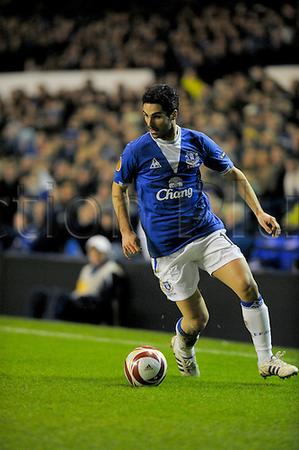 2010 Everton v Sporting Feb 16, Goodison Park. Mikel Arteta of Everton cuts in towards goal from wing. Photo: Alan Edwards/Actionplus. - Editorial Use