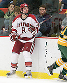 Patrick McNally (Harvard - 8) - The Harvard University Crimson defeated the visiting Clarkson University Golden Knights 3-2 on Harvard's senior night on Saturday, February 25, 2012, at Bright Hockey Center in Cambridge, Massachusetts.