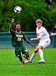 12 September 2010: University of Vermont Catamount Midfielder Malick Camara, a freshman from Atlanta, GA, in action against the Cornell University Big Red at Centennial Field in Burlington, Vermont. The Catamounts defeated the Big Red 2-1. Mandatory Credit: Ed Wolfstein Photo