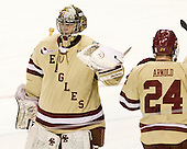 Parker Milner (BC - 35), Bill Arnold (BC - 24) - The Boston College Eagles defeated the University of Minnesota Golden Gophers 6-1 in their 2012 Frozen Four semi-final on Thursday, April 5, 2012, at the Tampa Bay Times Forum in Tampa, Florida.
