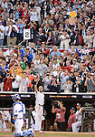 Derek Jeter (American),<br /> JULY 15, 2014 - MLB :<br /> American League All-Star Derek Jeter of the New York Yankees tips his cap to fans giving him a standing ovation as he is pulled in the fourth inning during the 2014 Major League Baseball All-Star Game at Target Field in Minneapolis, Minnesota, United States. (Photo by AFLO)