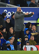6th February 2019, Goodison Park, Liverpool, England; EPL Premier League Football, Everton versus Manchester City; Manchester City manager Pep Guardiola shouts instructions to his players from the touchline