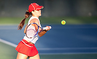 STANFORD, CA - January 26, 2011: Nicole Gibbs of Stanford women's tennis during her match against UC Davis' Megan Heneghan. Gibbs won 6-0, 6-2.